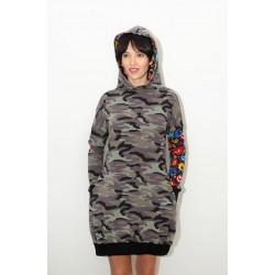 Sukienka moro folk z kapturem