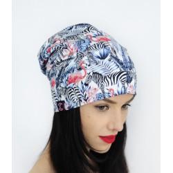 Dwustronna czapka w zebry i flamingi