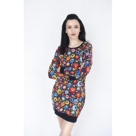 Długa bluza w łowickie kwiaty-czarna
